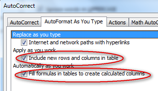 Table-autocorrect